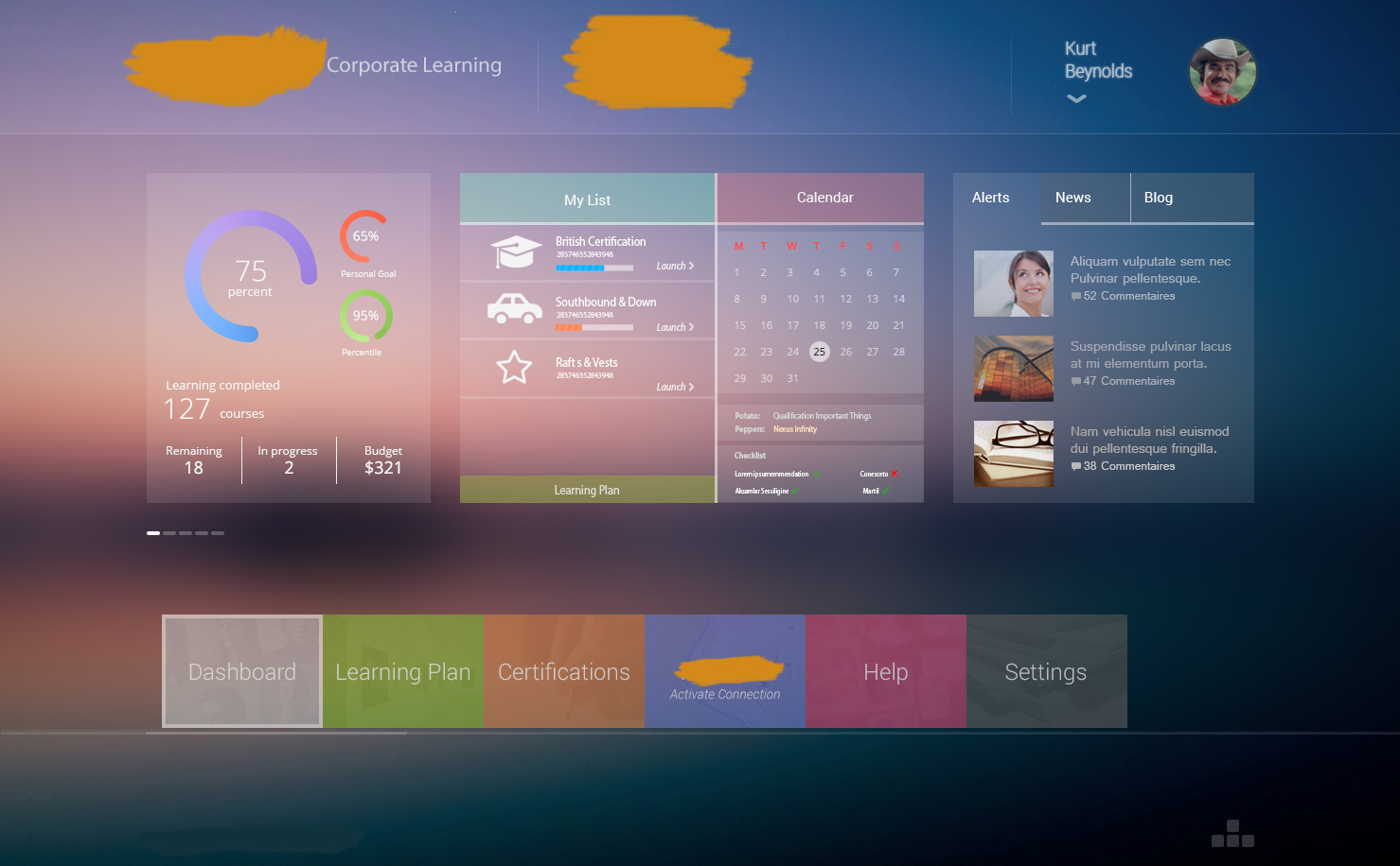 Corporate eLearning UI Home Screen