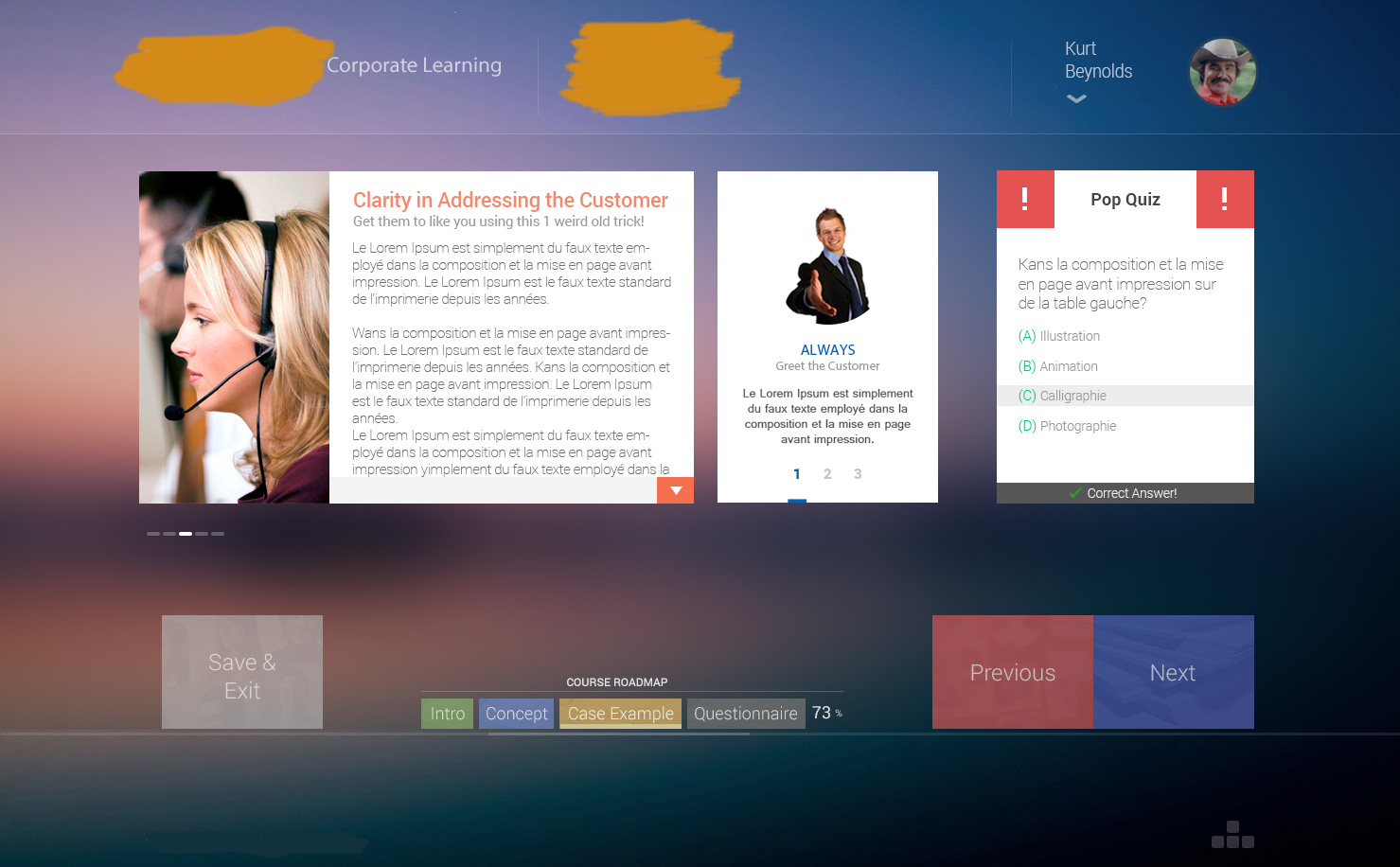 Corporate eLearning UI Course Screen