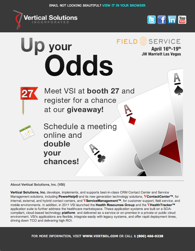 Email Marketing VSI Up Your Odds Giveaway